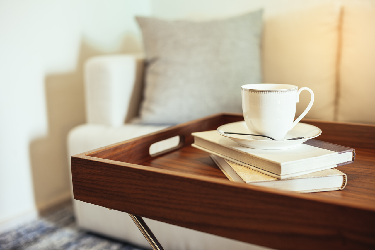 Coffee cup Books on wooden table